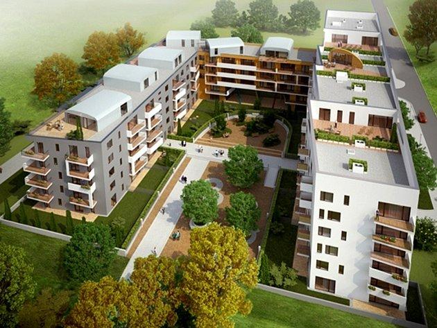 """Vizualizace projektu """"Zahrady Opatov"""" developera Sekyra Group, který se původně měl začít stavět už v roce 2012. Pro malý zájem o koupi bytů v hodnotě asi 50 tisíc korun za metr čtvereční ale byl projekt odložen."""