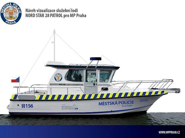 Návrh vizualizace služební lodi Nord Star 28 Patrol pro Městskou policii Praha.