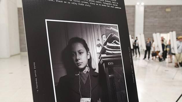 Lidé si prohlížejí fotografie na pietní akci nazvané Vzpomínka na BIIb, která byla 14. července 2020 ve Veletržním paláci v Praze věnována likvidaci tzv. Terezínského rodinného tábora v Osvětimi v roce 1944.