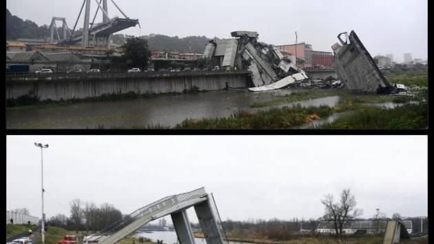 Obnova zříceného mostu v Janově (horní snímek) byla rychlejší než stavba spadlé lávky v Troji.