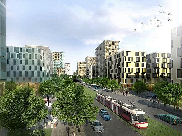 Pokračování Olšanské ulice na území dnešního nákladového nádraží by mělo získat tvář moderního bulváru s tramvajovým pásem a širokými chodníky.