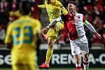 Zápas Evropské ligy mezi SK Slavia Praha a FC Astana, hraný 7. prosince v Praze.