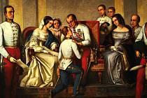 Ferdinand Dobrotivý a mladý František Josef I. Obraz vytvořil v roce 1876 český malíř František Čermák