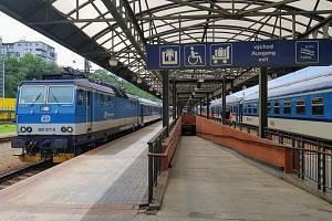 Sedmé nástupiště na pražském hlavním nádraží.