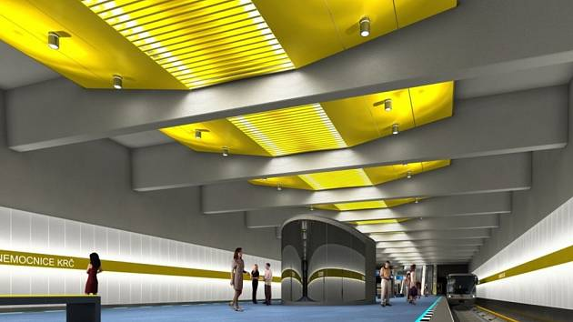 Návrh podoby interiéru stanice metra trasy D - Nemocnice Krč.