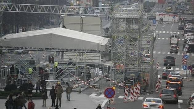 Přechodná úprava dopravního režimu se bude tradičně týkat horní části Václavského náměstí a také částečně přilehlých ulic.