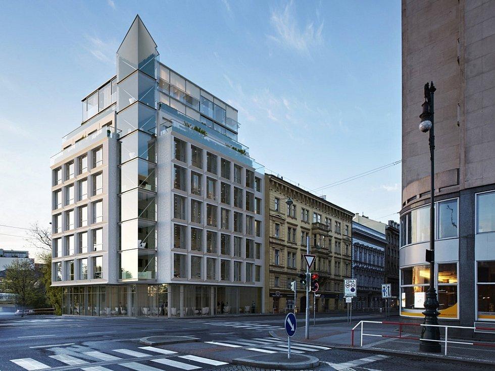 Vizualizace návrhu novostavby v Revoluční ulici v centru Prahy podle architekty Evy Jiřičné.