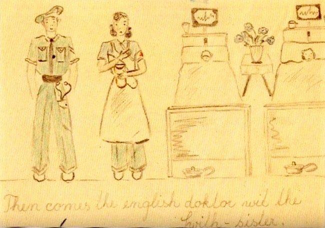 Jedna z kreseb, které Eva nakreslila pro Andrew Matthewese.