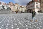 Kříže za oběti onemocnění covid-19 na pražském Staroměstském náměstí v pondělí 22. března 2021.