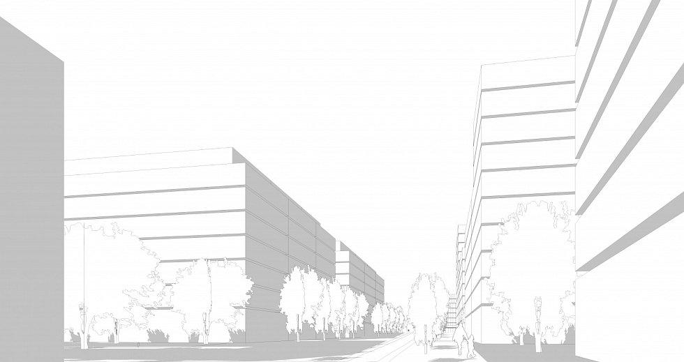 Perspektiva z pohledu chodce nové ulice, která vznikne propojením Veletržní a Dělnické.
