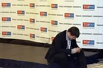 Na výsledky voleb čekala TOP 09 v pražském hotelu Dorint Don Giovanni.