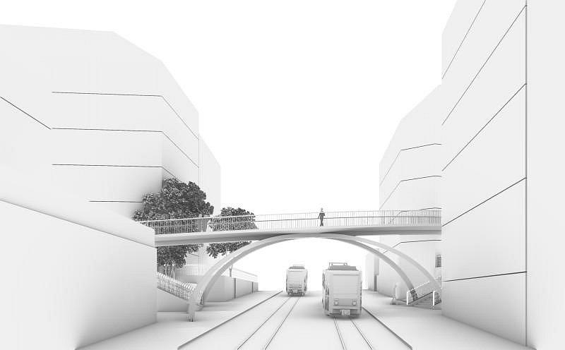 Vizualizace mostu spojující ulice Wenzigova a U Zvonařky.