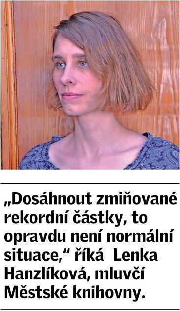 Citát Lenky Hanzlíková, mluvčí Městské knihovny vPraze.
