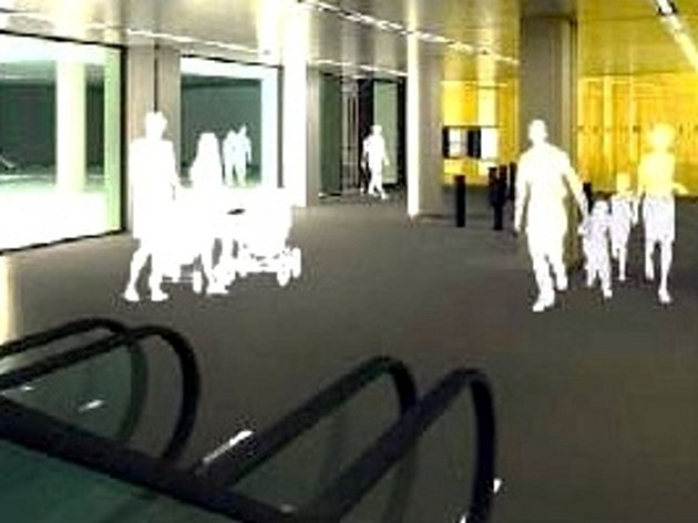 Vizualizace: žlutý vestibul stanice metra Národní třída v Praze po rekonstrukci.