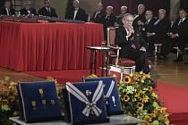 Prezident Miloš Zeman při projevu ve Vladislavském sále Pražského hradu, kde se 28. října 2019 konal slavnostní ceremoniál udílení státních vyznamenání.