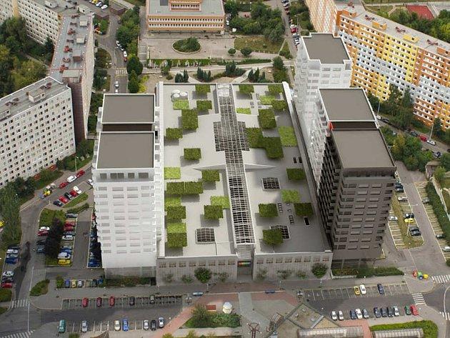 Vizualizace víceúčelových mrakodrapů u Obchodního centra Lužiny v Praze 13.