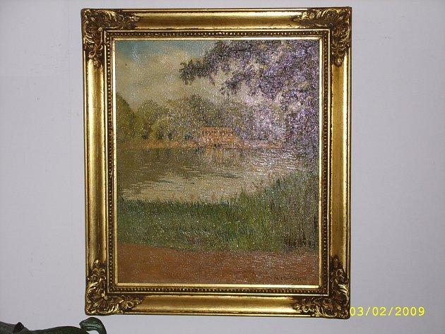 NALEZENÝ OBRAZ. Dílo s názvem Pohled přes jezírko na zámek od Michejeva bylo na prodej v galerii.