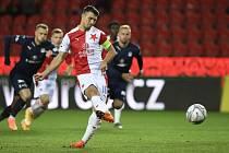 Utkání 5. kola první fotbalové ligy: Slavia Praha - 1. FC Slovácko, 26. září 2020 v Praze. Ondřej Kúdela ze Slavie proměňuje penaltu.