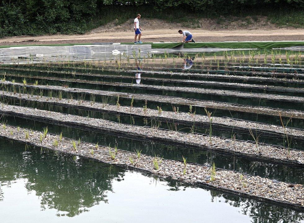 Na okrajích nádrží bude tráva umělá.