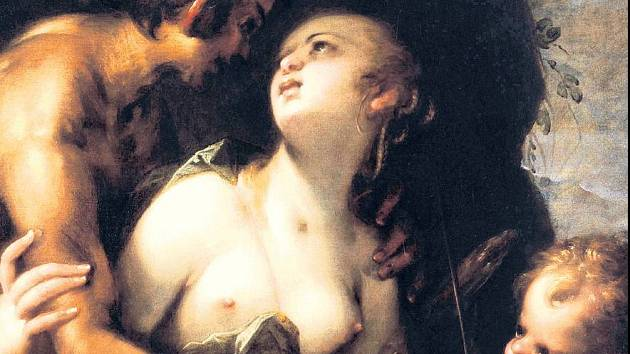 Hans von Aachen : Jupiter a Antiopé, olej na dřevě, 87 x 69cm.
