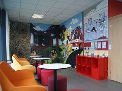 Interaktivní vestibul k projektu Výchova k bezpečí v části stanice pražských hasičů v Modřanech.