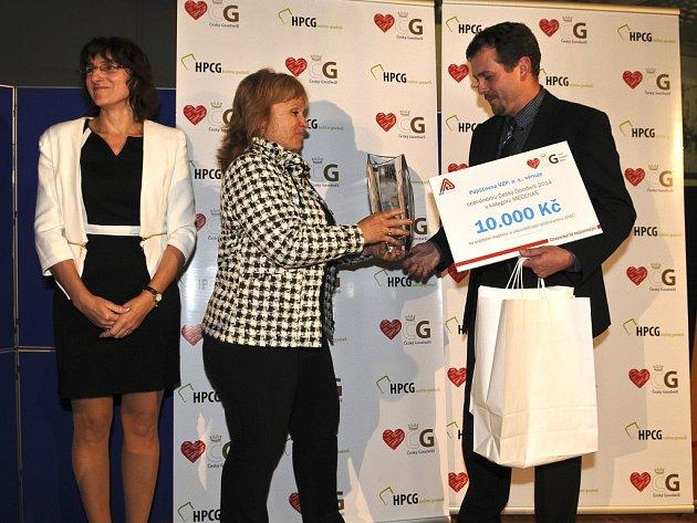 Petr Horký (Hottech) převzal cenu pro vítěze v kategorii Mecenáš Českého Goodwillu 2014.