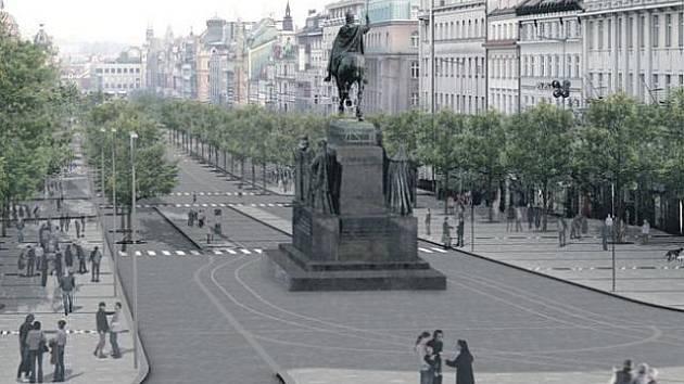 Budoucnost se přiblížila. Známé vizualizace možná brzy naberou reálnou podobu. Praha 1 usiluje o rychlou změnu. Ta se začne udávat nejprve v dolní třetině Václavského náměstí. Architekti z CMA však vypracovali studie modernizace celého bulváru.