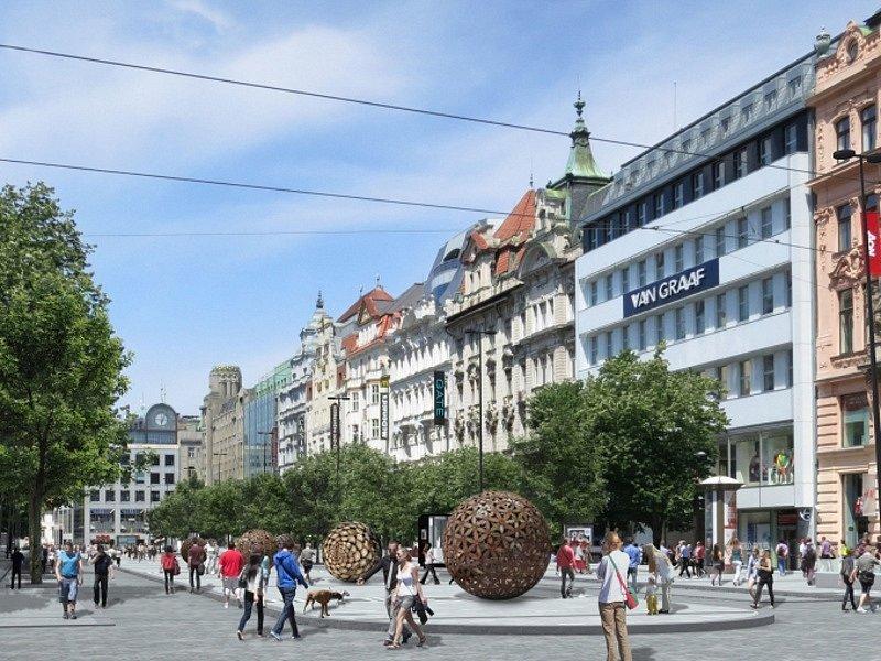 Vizualizace Václavského náměstí v Praze po plánované revitalizaci.