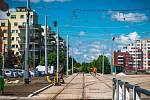 Smyčka na Barrandově a začátek nové tratě do Holyně.