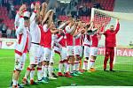 Fotbalové utkání semifinále Mol Cupu mezi celky SK Slavia Praha a FK Mladá Boleslav 17. dubna v Praze. Hráči Slavie slaví postup.