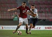 Zápas 4. kola fotbalové HET ligy mezi Sparta Praha a 1. FC Slovácko, hraný 18. sprna v Praze. Ondřej Zahustel, Tomáš Zajíc.