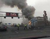 Požár dodávky u tunelu Mrázovka.