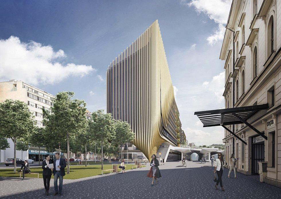 Vizualizace komplexu budov u Masarykova nádraží.