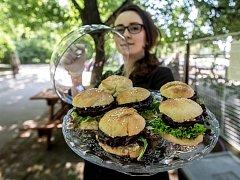 2. ročník slavnosti fairtradového a lokálního jídla a pití Férová Letná probíhal 14. května v pražských Letenských sadech. Na snímku Slidery s hummusem, řepovým steakem a cibulovým džemem