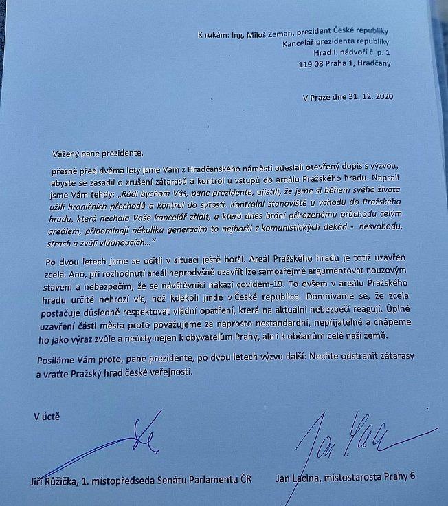 Otevřený dopis prezidentovi Miloši Zemanovi.