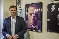 Zahájení výstavy fotografií věnované nedožitým 95. narozeninám herce Rudolfa Hrušínského proběhlo 21. října v pražském Divadle Na Jezerce. Na snímku Jan Hrušínský.