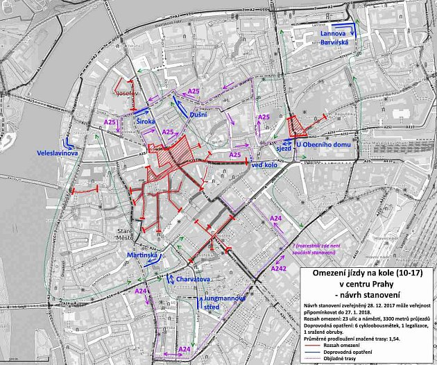 Mapka plánovaného omezení cyklistů vcentru Prahy