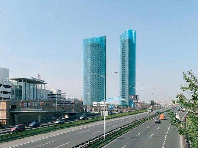 Dvě obří kancelářské budovy, z nichž jedna se má vyšplhat do výšky 138 metrů, mají vyrůst jen pár metrů od OC Chodov a to na pozemku, kde nyní stojí šestipatrová budova, která je v souladu s územním plánem (pohled od dálnice D1).
