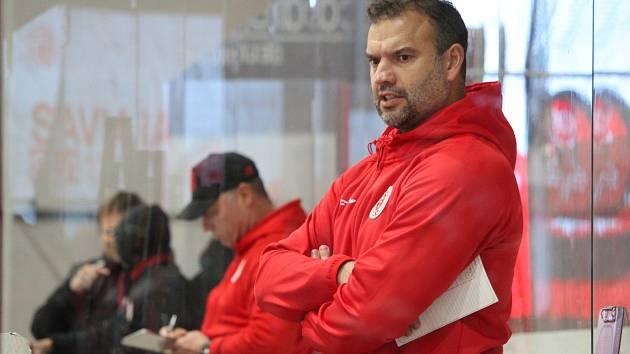 Trenéři Martin Štrba a Jiří Doležal starší (v pozadí) skončili na lavičce hokejové Slavie.