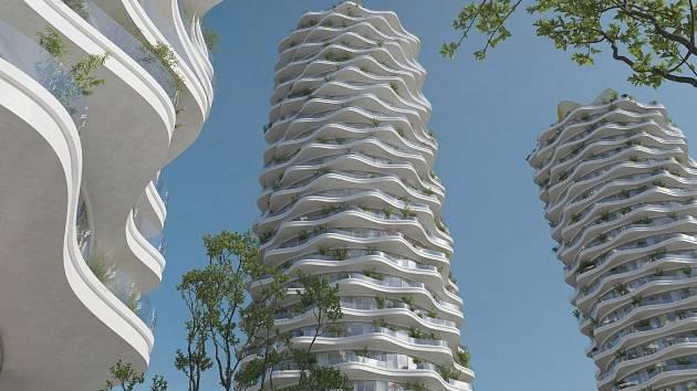 KONEC MORDORU. Na místě bývalého Telecomu na Žižkově mohou vzniknout unikátní rozvlněné věže od Evy Jiřičné