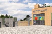 Záchranná stanice v Jinonicích - vizualizace. Od vjezdu s logem.