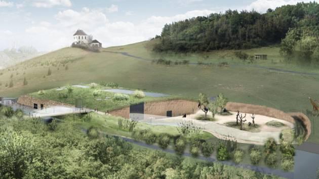 Vizualizace projektu nového pavilonu goril v Zoo Praha.