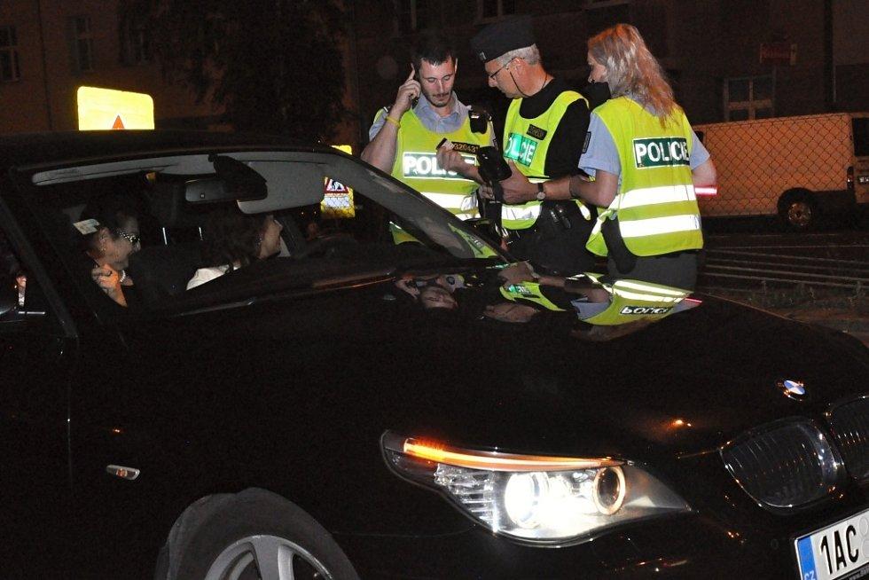 Z dopravně-bezpečnostní policejní akce pražské policie na magistrále na Pankráci.