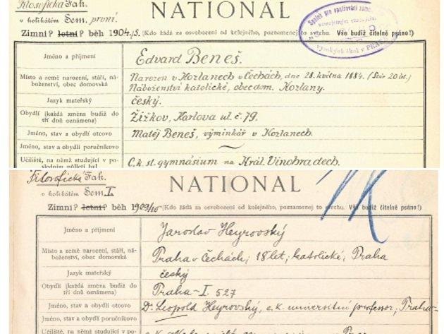 fragment vlastnoručního zápisu Edvarda Beneše ke studiu na Filozofické fakultě UK z roku 1904, dole část vlastnoručního zápisu Jaroslava Heyrovského ke studiu na Filozofické fakultě UK z roku 1909