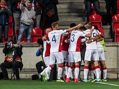 Zápas Evropské ligy mezi Slavia Praha a Maccabi Tel Aviv, hraný 14. září v Praze.
