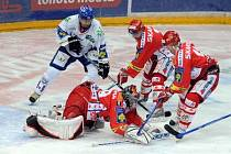 Hokejové utkání 38. kola O2 ELH mezi tými HC Slavia Praha a HC Geus okna Kladno v libeňské O2 Aréně.