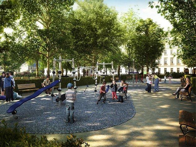 Vizualizace: nová podoba Karlínského náměstí v Praze pamatuje hlavně na bezpečnost a matky s dětmi, v budoucnu by si tam měly bezstarostně hrát.