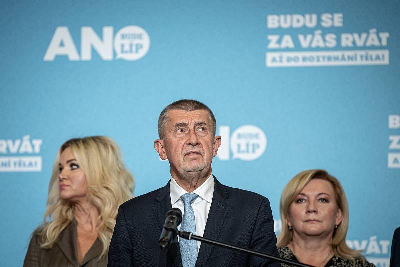 Tisková konference v sídle ANO, 9. října 2021 v Praze.
