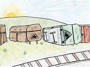O ztracené drezíně. Jedna z ilustrací Janise Mahbouliho v knize Pohádky z nádraží.