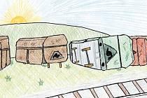 O vykolejených vagónkách. Jedna z ilustrací Janise Mahbouliho v knize Pohádky z nádraží.